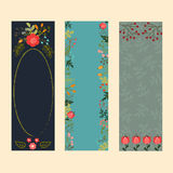 套与花卉元素的三副垂直的横幅 库存图片