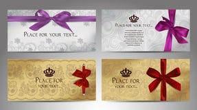 套与花卉设计元素和缎弓的典雅的卡片 库存照片