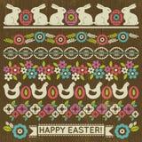 套与花和复活节彩蛋,传染媒介的花边纸 免版税库存图片