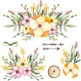 套与花和箭头的水彩花束 免版税图库摄影