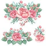 套与英国兰开斯特家族族徽和绿色叶子的水彩花束 免版税库存照片