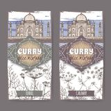 套与茴香、香芹籽和泰姬陵手拉的颜色剪影的两个标签 库存图片