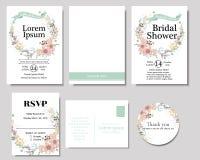 套与薄荷的丝带婚礼邀请卡片的五颜六色的花花圈 春天汇集 图库摄影