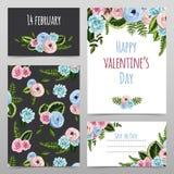 套与被绘的花的华伦泰卡片 免版税库存图片