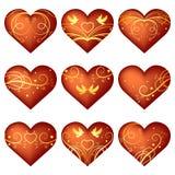 套与装饰品的心脏 免版税库存图片