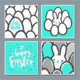 套与逗人喜爱的兔宝宝和鸡蛋的复活节明信片 库存图片