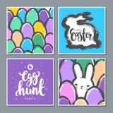 套与逗人喜爱的兔宝宝和鸡蛋的复活节明信片 库存照片