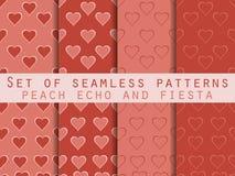 套与重点的无缝的模式 日s华伦泰 桃子回声和节日颜色 在2016年颜色趋向 浪漫模式 向量 向量例证