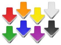 套与金属边界,下载标志的动画片3D箭头 免版税库存图片