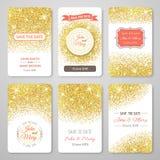 套与金黄五彩纸屑题材的完善的婚礼模板 库存例证