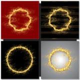 套与闪闪发光的抽象圆的金黄框架 免版税库存图片