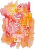 套与阿格拉,开罗,里约热内卢,比萨,马德里,纽约,莫斯科,巴黎,罗马,伦敦,由a的字法字法的地标  皇族释放例证