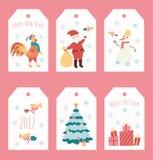 套与雪花的圣诞节例证 免版税库存照片