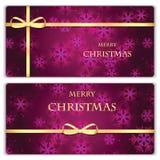 套与雪花的圣诞节和新年横幅 库存照片