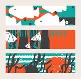套与鱼和海草的明亮的水平的横幅 与手拉的元素的抽象概念性例证 库存照片