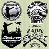 套与鸭子,垂度,枪,寻找的象征猎人的样式 向量例证