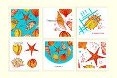 套与贝壳的五颜六色的卡片 向量例证
