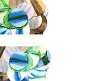 套与水彩手拉的圈子的横幅 免版税库存照片