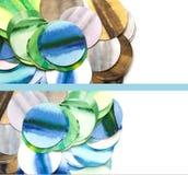 套与水彩手拉的圈子的横幅 免版税图库摄影