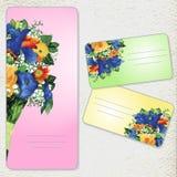 套与水彩花的邀请卡片 免版税库存照片