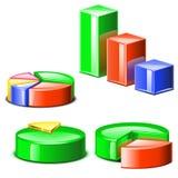 套与阴影的不同的色的diagramms 免版税库存照片