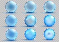 套与阴影的透明和不透明的浅兰的球形 皇族释放例证