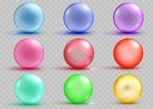 套与阴影的透明和不透明的色的球形 皇族释放例证