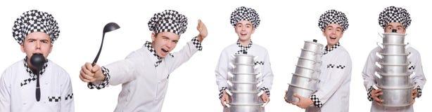 套与滑稽的厨师的照片 免版税库存照片