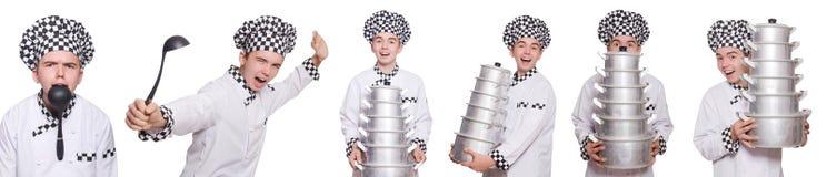 套与滑稽的厨师的照片 免版税图库摄影