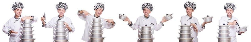套与滑稽的厨师的照片 免版税库存图片