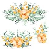 套与黄色花和绿色叶子的水彩花束 库存照片