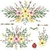 套与黄色花和绿色叶子的水彩花束 免版税库存照片