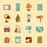 套与洗衣机st的家用电器平的象 图库摄影