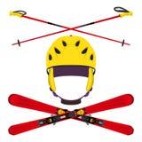 套与滑雪杆的盔甲,滑雪在平的样式 图库摄影