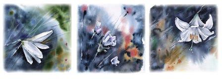 套与flowersWatercolor例证的贺卡 免版税库存照片