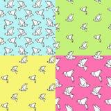 套与origami鸟的4个无缝的样式 免版税库存图片
