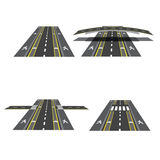 套与peshihodnymi横穿、自行车道路、边路和交叉点的不同的路段 例证 免版税库存图片