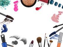 套专业化妆用品刷子和促进方形的框架 免版税库存图片