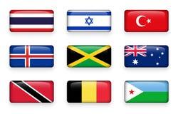 套世界下垂长方形按钮泰国 以色列 火鸡 冰岛 牙买加 澳洲 多巴哥特立尼达 比利时 库存例证