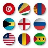 套世界下垂围绕徽章突尼斯 塞舌尔群岛 蒙古 戽水者 英国 俄国 利比里亚 chad 圣多美和Pri 向量例证