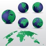 套世界地图传染媒介例证 库存例证
