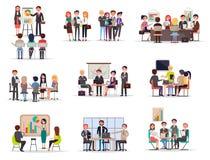 套业务会议在平动画片的样式 库存例证