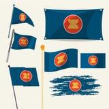 套东南亚国家联盟旗子- 库存图片