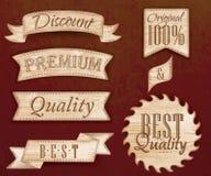 套丝带和标签浅褐色的颜色。 免版税库存照片