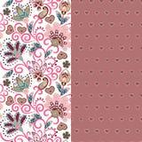 套两与佩兹利和幻想的水平的无缝的花卉样式开花边界 衣裳的手拉的纹理 向量例证