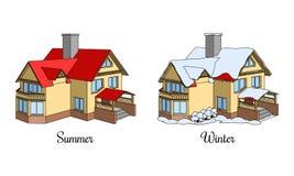 套两个房子在夏天和冬时 免版税库存图片