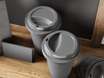 套两个无奶咖啡杯子、空白的名片和黑板在书架 3d回报 免版税库存图片