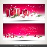 套两副红色圣诞节横幅 免版税库存图片