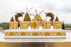 套中国茶杯 免版税库存图片