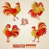 套中国黄道带雄鸡 免版税库存照片